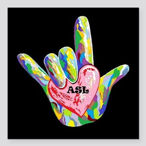 "I Heart ASL Square Car Magnet 3"" x 3"""