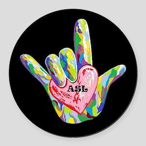 I Heart ASL Round Car Magnet