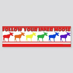Rainbow Moose Bumper Sticker