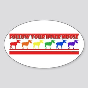 Rainbow Moose Oval Sticker