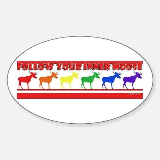 Rainbow Moose Oval Decal