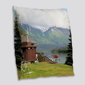 Trail Lake, Moose Pass, Alaska Burlap Throw Pillow