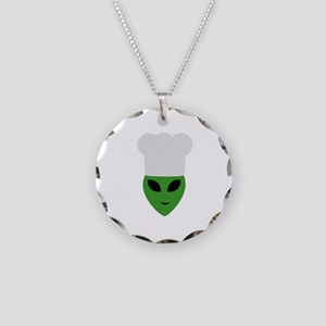 Alien cook with hat Necklace Circle Charm