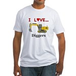 I Love Diggers Fitted T-Shirt