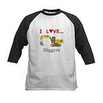 I Love Diggers Kids Baseball Jersey