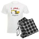 I Love Diggers Men's Light Pajamas