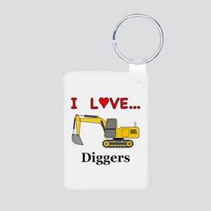 I Love Diggers Aluminum Photo Keychain