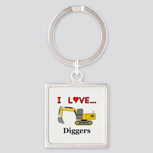 I Love Diggers Square Keychain