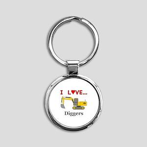 I Love Diggers Round Keychain