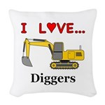 I Love Diggers Woven Throw Pillow