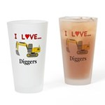I Love Diggers Drinking Glass
