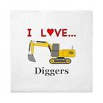 I Love Diggers Queen Duvet
