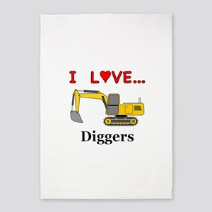 I Love Diggers 5'x7'Area Rug