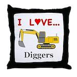 I Love Diggers Throw Pillow