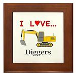 I Love Diggers Framed Tile
