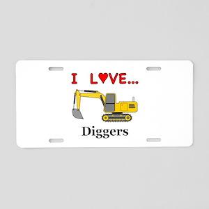 I Love Diggers Aluminum License Plate
