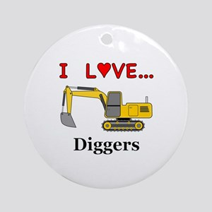I Love Diggers Round Ornament