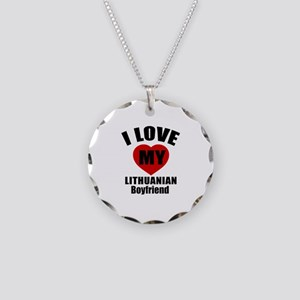 I Love My Lithuania Boyfrien Necklace Circle Charm