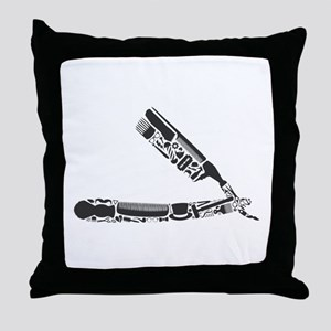barber razor collage Throw Pillow