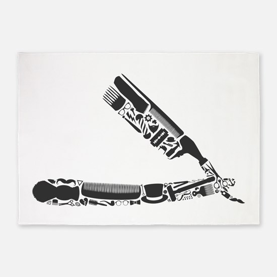 barber razor collage 5'x7'Area Rug