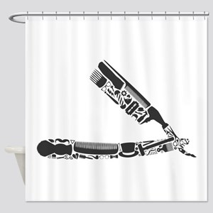 Barber Razor Collage Shower Curtain