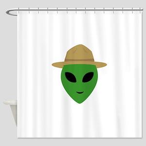 Alien with park ranger hat Shower Curtain