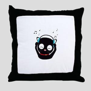 Music Cat with headphones Throw Pillow