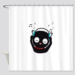 Music Cat with headphones Shower Curtain