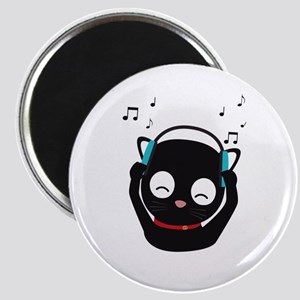 Music Cat with headphones Magnets