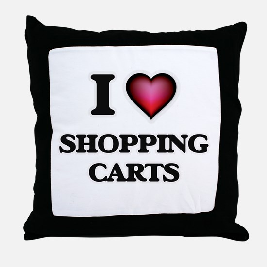 I Love Shopping Carts Throw Pillow