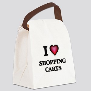 I Love Shopping Carts Canvas Lunch Bag