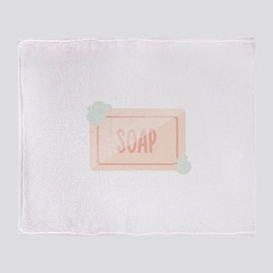 Pink piece of soap with bubbles Throw Blanket