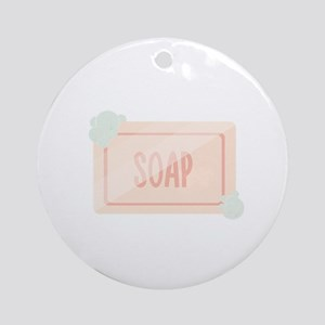 Pink piece of soap with bubbles Round Ornament