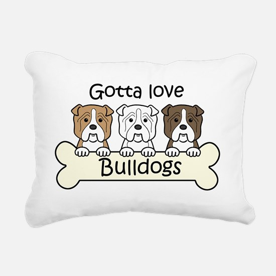 Cute I love olde english bulldogs Rectangular Canvas Pillow