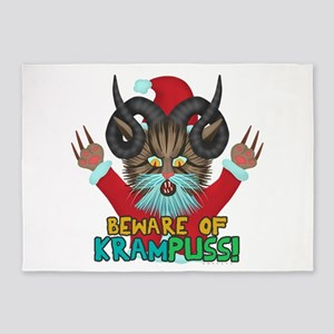 Funny Christmas Krampuss Cat Pun 5'x7'Area Rug