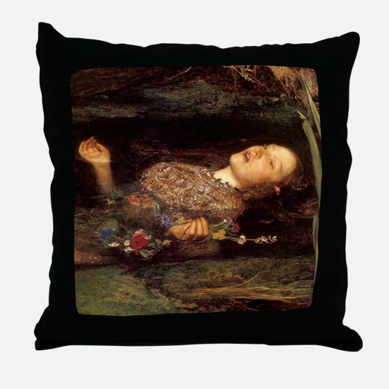Millais Ophelia Throw Pillow (Right)