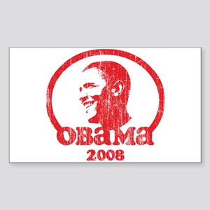 Barack Obama 2008 (Red Vintag Sticker (Rectangular