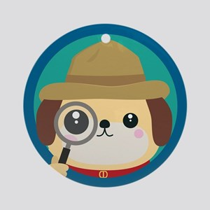 Dog detective with magnifying glass Round Ornament