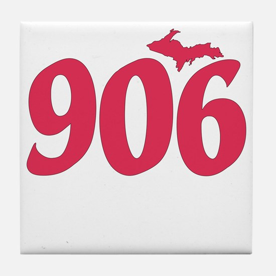 906 Yooper UP Upper Peninsula - Pink Tile Coaster