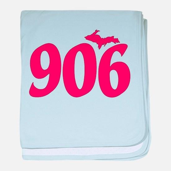 906 Yooper UP Upper Peninsula - Pink baby blanket