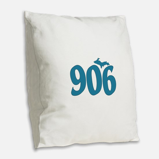 906 Yooper Blue Burlap Throw Pillow
