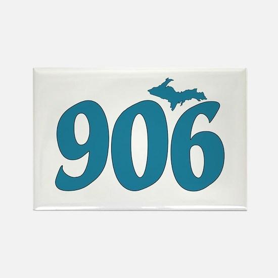 906 Yooper Blue Rectangle Magnet