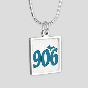906 Yooper Blue Silver Square Necklace