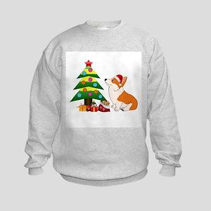 Christmas Corgi Cartoon Kids Sweatshirt