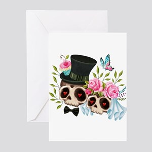 Sugar Skull Bride & Groom Greeting Cards