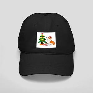 Christmas Corgi Cartoon Black Cap