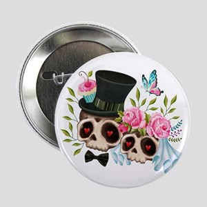 """Sugar Skull Bride & Groom 2.25"""" Button (100 pack)"""