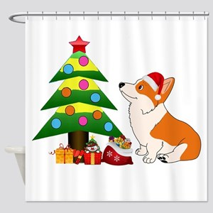 Christmas Corgi Cartoon Shower Curtain