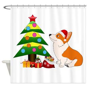 corgi christmas shower curtains cafepress - Christmas Corgi