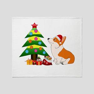 Christmas Corgi Cartoon Throw Blanket